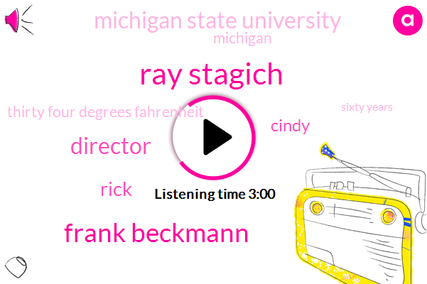 Ray Stagich,Frank Beckmann,Director,Rick,Cindy,Michigan State University,Michigan,Thirty Four Degrees Fahrenheit,Sixty Years