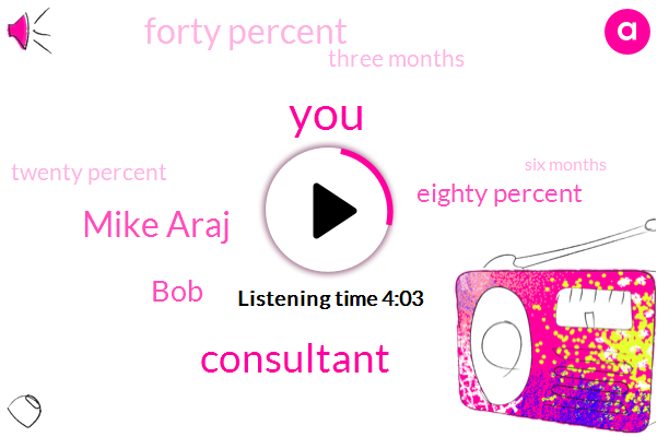 Consultant,Mike Araj,BOB,Eighty Percent,Forty Percent,Three Months,Twenty Percent,Six Months