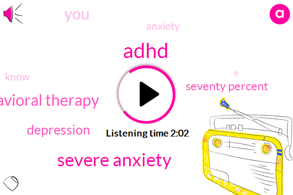 Adhd,Severe Anxiety,Cognitive Behavioral Therapy,Depression,Seventy Percent