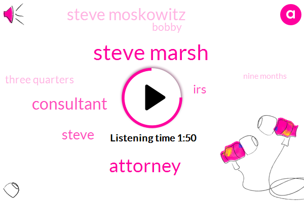 Steve Marsh,Attorney,Consultant,IRS,Steve Moskowitz,Bobby,Steve,Three Quarters,Nine Months