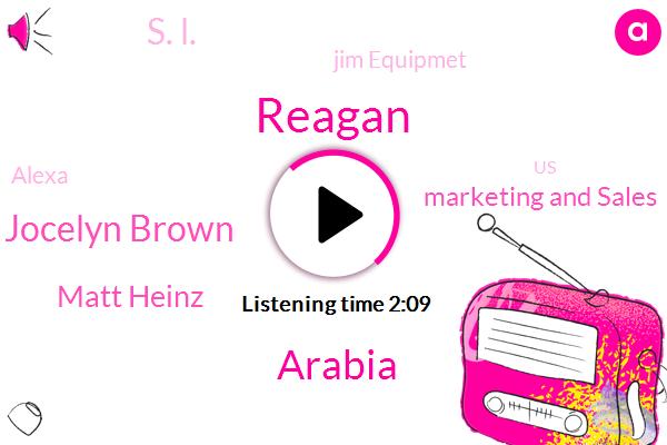 Reagan,Arabia,Jocelyn Brown,Matt Heinz,Marketing And Sales,S. L.,Jim Equipmet,Alexa,United States,Joson,Senior Vice President,Eleven Years