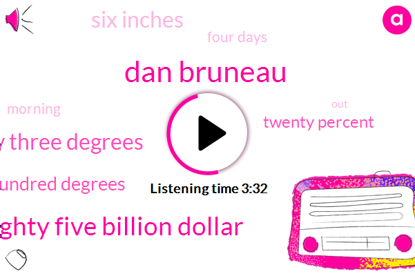 Dan Bruneau,Eighty Five Billion Dollar,Seventy Three Degrees,One Hundred Degrees,Twenty Percent,Six Inches,Four Days