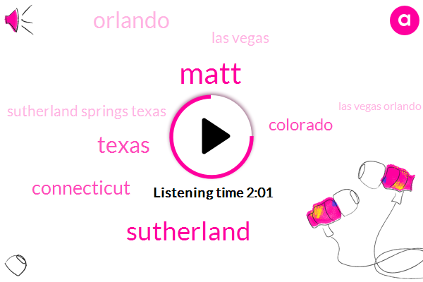 Matt,Sutherland,Texas,Connecticut,Colorado,Orlando,Las Vegas,Sutherland Springs Texas,Las Vegas Orlando,One Year
