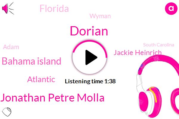 Jonathan Petre Molla,Dorian,Grand Bahama Island,Atlantic,Jackie Heinrich,Florida,Wyman,FOX,Adam,South Carolina,North Carolina,Cape Canaveral Florida,California,Daytona Beach