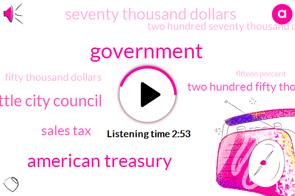 Government,American Treasury,Seattle City Council,Sales Tax,Two Hundred Fifty Thousand Dollars,Seventy Thousand Dollars,Two Hundred Seventy Thousand Dollars,Fifty Thousand Dollars,Fifteen Percent