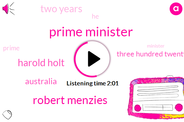 Prime Minister,Robert Menzies,Harold Holt,Australia,Three Hundred Twenty Eight Days,Two Years