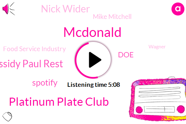 Mcdonald,Platinum Plate Club,Michael Cassidy Paul Rest,Spotify,DOE,Nick Wider,Mike Mitchell,Food Service Industry,Wagner