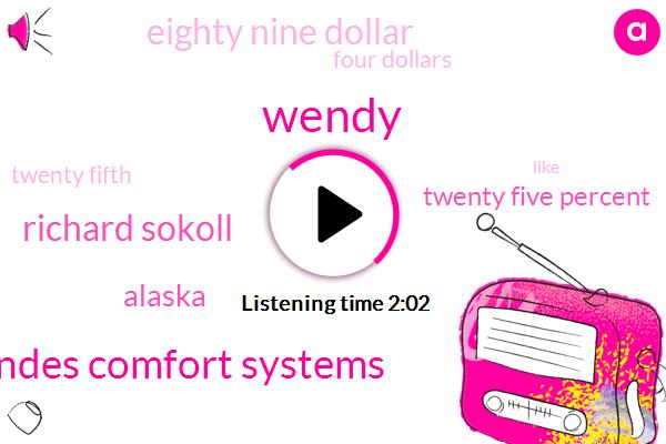 Wendy,Landes Comfort Systems,Richard Sokoll,Alaska,Twenty Five Percent,Eighty Nine Dollar,Four Dollars,Twenty Fifth