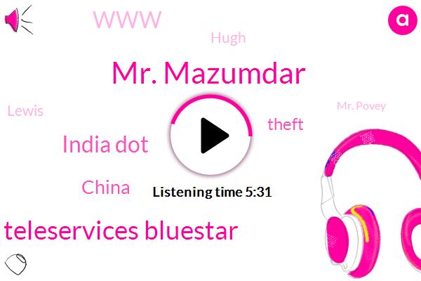 Mr. Mazumdar,Goodridge Totta Teleservices Bluestar,India Dot,China,Theft,WWW,Hugh,Lewis,Mr. Povey