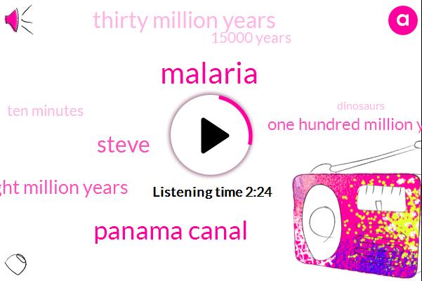 Malaria,Panama Canal,Steve,Eight Million Years,One Hundred Million Years,Thirty Million Years,15000 Years,Ten Minutes