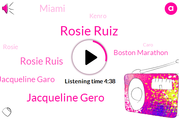 Rosie Ruiz,Jacqueline Gero,Rosie Ruis,Jacqueline Garo,Boston Marathon,Miami,Kenro,Rosie,Caro,Cocaine,Lack Of Remorse,Boston,Olympics,Los Angeles,Rees,Florida,Canada,New York