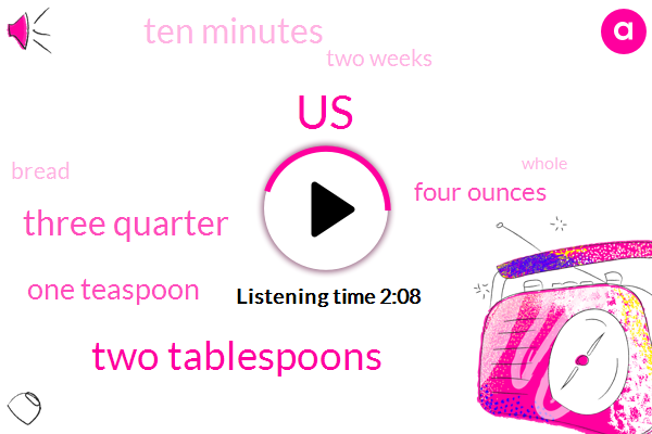 United States,Two Tablespoons,Three Quarter,One Teaspoon,Four Ounces,Ten Minutes,Two Weeks