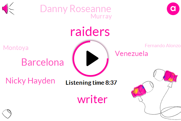 Raiders,Writer,Barcelona,Nicky Hayden,Venezuela,Danny Roseanne,Murray,Montoya,Fernando Alonzo,Dorner,Moore,Fabio,London Paris,Johnny Herbert,Nicholas Latifi,Londonorce