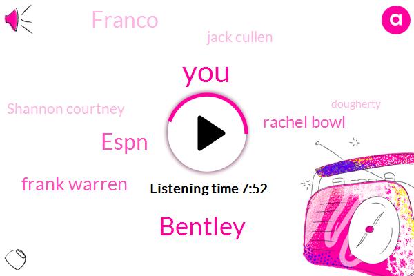 Bentley,Espn,Frank Warren,Rachel Bowl,Franco,Jack Cullen,Shannon Courtney,Dougherty,Carmen,EMC,Nino Rodriguez,Youtube,Franko,United States,OMB,Johnson,Melatonin,TIM