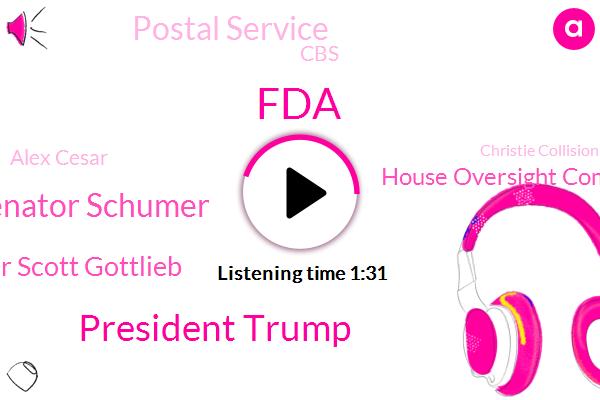FDA,President Trump,Senator Schumer,Dr Scott Gottlieb,House Oversight Committee,Postal Service,CBS,Alex Cesar,Christie Collision,NBA,Dr. Stephen Han,General Lewis,Reporter,Secretary
