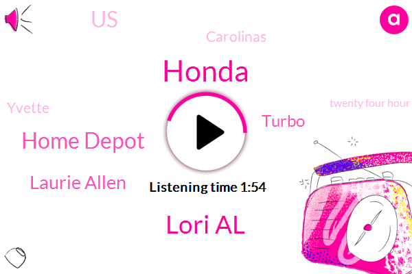 Honda,Lori Al,Home Depot,Laurie Allen,Turbo,United States,Carolinas,Yvette,Twenty Four Hour