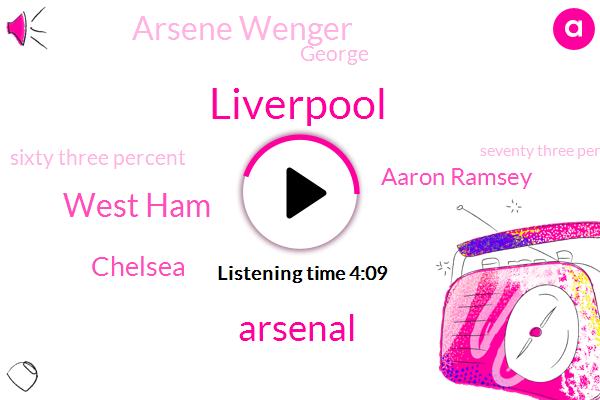 Liverpool,Arsenal,West Ham,Chelsea,Aaron Ramsey,Arsene Wenger,George,Sixty Three Percent,Seventy Three Percent,Eighty Nine Minute,Twenty Two Years