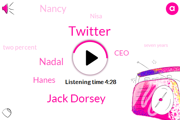 Twitter,Jack Dorsey,Nadal,Hanes,CEO,Nancy,Nisa,Two Percent,Seven Years,Two Weeks
