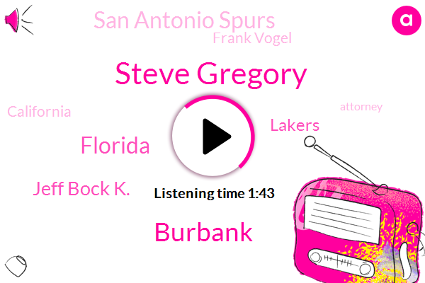 Steve Gregory,Burbank,Florida,Jeff Bock K.,Lakers,San Antonio Spurs,Frank Vogel,California,Attorney,Jeff Lawson,Bill,United States