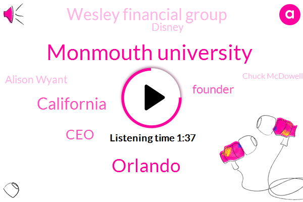 Monmouth University,Orlando,California,Wtvn,CEO,Founder,Wesley Financial Group,Disney,Alison Wyant,Chuck Mcdowell,TOM,Ten Years