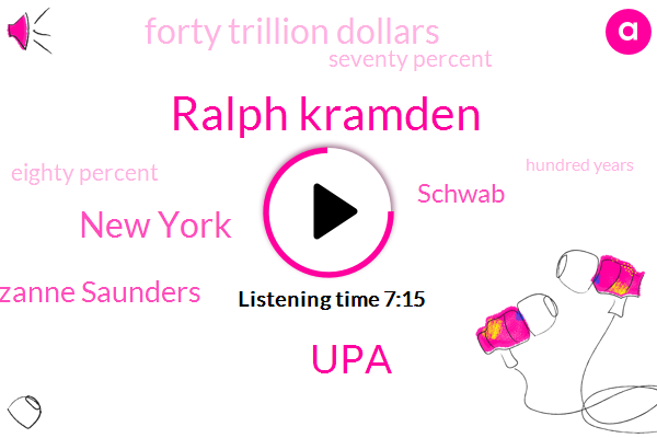Ralph Kramden,UPA,New York,Lizanne Saunders,Schwab,Forty Trillion Dollars,Seventy Percent,Eighty Percent,Hundred Years,Fifty Dollar,Fifty Minute,Twenty Years,Ten Percent,Nine Months,Five Years
