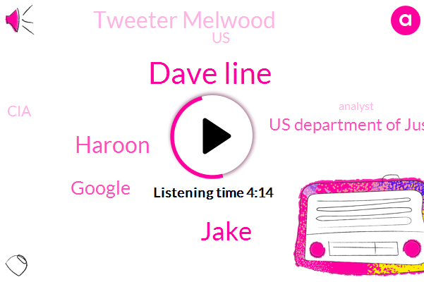Dave Line,Jake,Haroon,Google,Us Department Of Justice,Tweeter Melwood,United States,CIA,Analyst,DNC