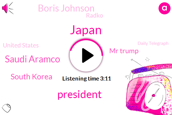 Japan,President Trump,Saudi Aramco,South Korea,Mr Trump,Boris Johnson,Radko,United States,Daily Telegraph,Kim Jong Un,Hanoi,Yonhap,Kariz,Brussels,UK,EU,China,Tepco