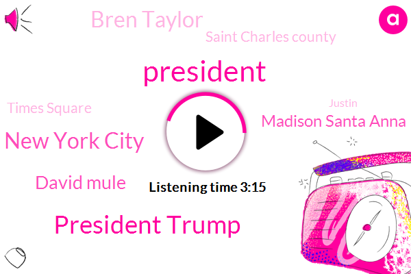 President Trump,New York City,ABC,David Mule,Madison Santa Anna,Bren Taylor,Saint Charles County,Times Square,Justin,Thority,Doylestown,Apple,Kelp County,Knox County,Supervisor