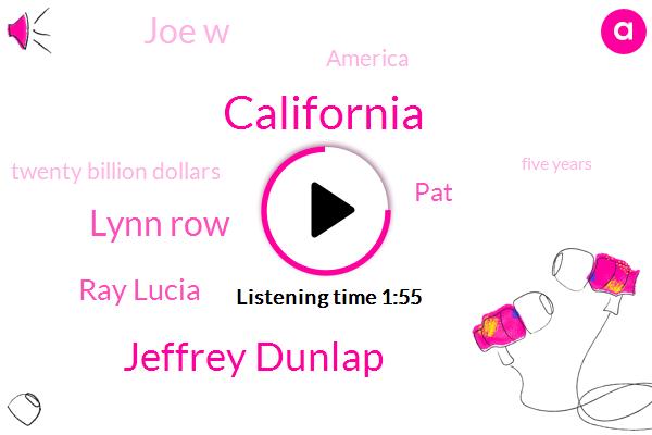California,Jeffrey Dunlap,Lynn Row,Ray Lucia,PAT,Joe W,America,Twenty Billion Dollars,Five Years