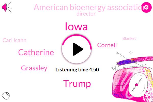 Iowa,Donald Trump,Catherine,Grassley,Cornell,American Bioenergy Association,Director,Carl Icahn,Blanket,America,EPA,Chairman,Petroleum Institute,President Trump,Nebraska,South Dakota,Indiana