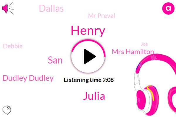 Henry,Julia,SAN,Dudley Dudley,Mrs Hamilton,Dallas,Mr Preval,Debbie,JOE,Twenty Minutes,Eleven Days