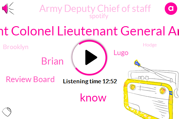 Lieutenant Colonel Lieutenant General Andrei Pg,Brian,Review Board,Lugo,Army Deputy Chief Of Staff,Spotify,Brooklyn,Hodge,BMG,Kate,Peggy