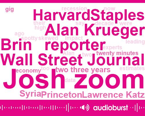 Josh Zoom,Wall Street Journal,Brin,Reporter,Alan Krueger,Staples,Harvard,Lawrence Katz,Princeton,Syria,Two Three Years,Twenty Minutes