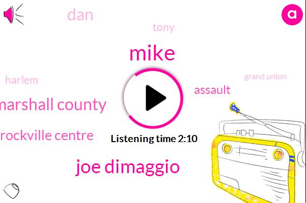 Mike,Joe Dimaggio,Marshall County,Rockville Centre,Assault,DAN,Harlem,Tony,Grand Union,Golf,Rockville,Duke Snider,Brooklyn,Lebron,Two Years,Fifty Two Years,Sixteen Year