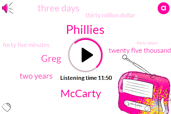 Mccarty,Phillies,Greg,Two Years,Twenty Five Thousand Dollars,Three Days,Thirty Million Dollar,Forty Five Minutes,Forty Years,Seven Days,Eight Day,Two Days,One M