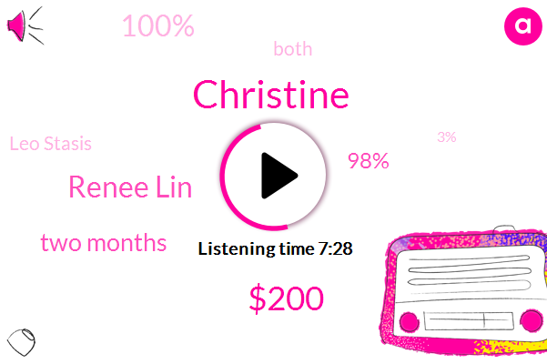 Christine,$200,Renee Lin,Two Months,98%,100%,Both,Leo Stasis,3%,This Year,Thousands Of Dollars,A Year Ago,TWO,20 Spf,Three Ingredients,About 30 40 Seconds,One Time,57,Three Part,11 Application
