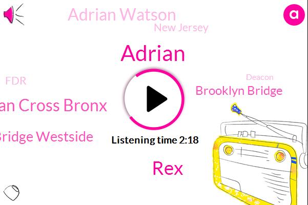 REX,Adrian Cross Bronx,Adrian,Triborough Bridge Westside,Brooklyn Bridge,Adrian Watson,New Jersey,FDR,Deacon,BQE,Woodhaven,Lincoln,Holland