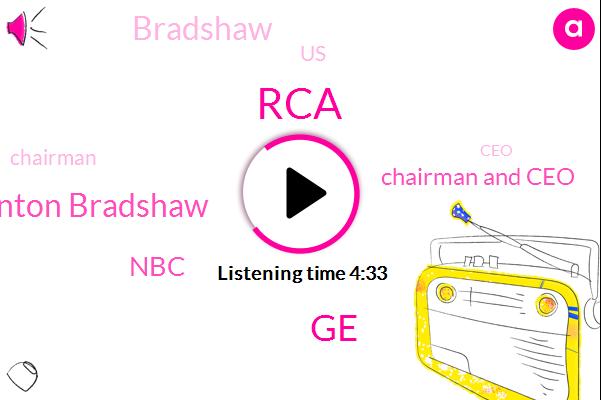 RCA,Thornton Bradshaw,GE,NBC,Chairman And Ceo,Bradshaw,United States,Chairman,CEO,NOP,Reagan,Partner,Robert R Frederick,Army,John F Welsh,Principal