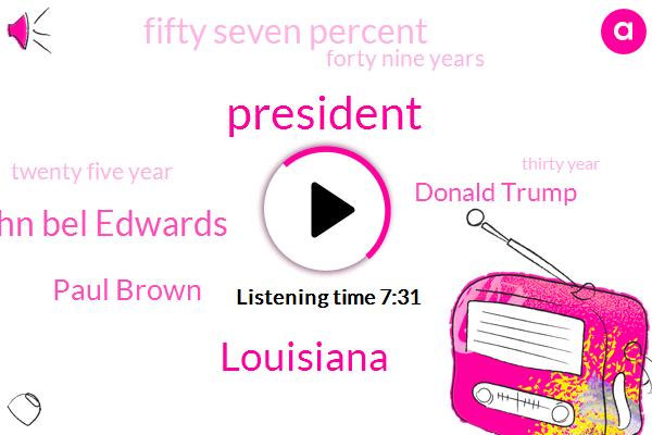 John Bel Edwards,Paul Brown,Louisiana,President Trump,Donald Trump,Fifty Seven Percent,Forty Nine Years,Twenty Five Year,Thirty Year