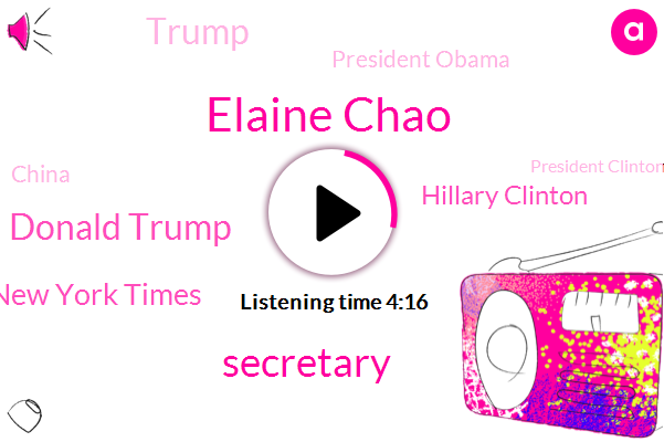 Elaine Chao,Secretary,Donald Trump,New York Times,Hillary Clinton,President Obama,China,President Clinton,Clinton Foundation,Mitch Mcconnell,Senate,Alice,United States,Congress,Termine,Ten Years