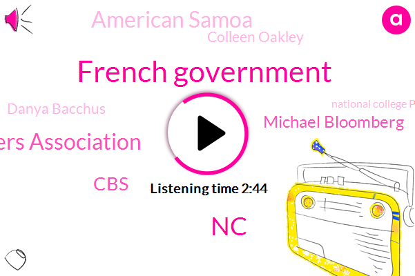 French Government,NC,College Players Association,CBS,Michael Bloomberg,American Samoa,Colleen Oakley,Danya Bacchus,National College Players Association,New York City,Bloomberg