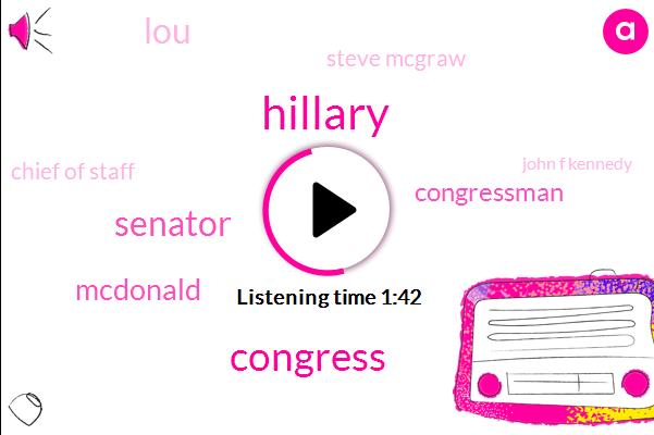 Hillary,Congress,Senator,Mcdonald,Congressman,LOU,Steve Mcgraw,Chief Of Staff,John F Kennedy,Croker,EU