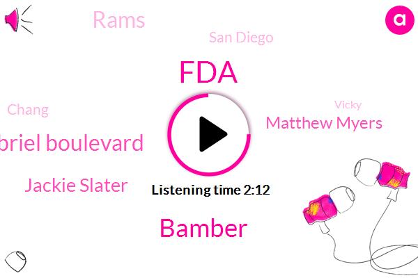 FDA,KNX,Bamber,San Gabriel Boulevard,Jackie Slater,Matthew Myers,Rams,San Diego,Chang,Vicky,Pasadena,I. Kennedy,Fraud,Seventy Five Percent,Ninety Seconds,Five Months,Sixty Days,Six Hours