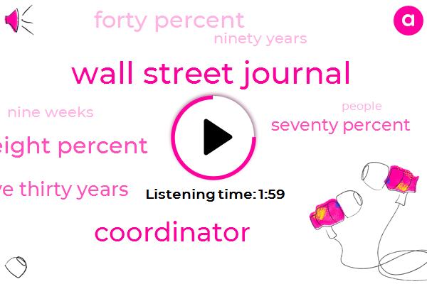 Wall Street Journal,Coordinator,Seventy Eight Percent,Twenty Five Thirty Years,Seventy Percent,Forty Percent,Ninety Years,Nine Weeks