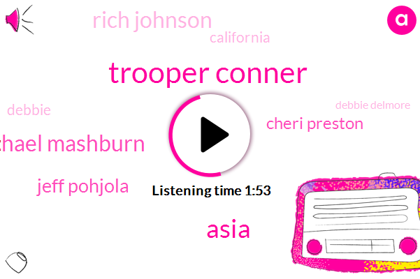 Trooper Conner,Asia,Michael Mashburn,Jeff Pohjola,Cheri Preston,Rich Johnson,California,Debbie,Komo,Debbie Delmore,10 Minutes