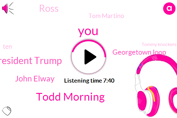 Todd Morning,President Trump,John Elway,Georgetown Loop,Ross,Tom Martino,Tommy Knockers,Mcdonalds,Chevy,Georgetown,Lebanon,Impala,Managing Partner,Paolo,Frank,United States,America,ROD