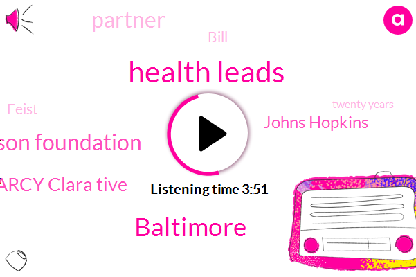 Health Leads,Baltimore,Robert Wood Johnson Foundation,Marcy Clara Tive,Johns Hopkins,Partner,Bill,Feist,Twenty Years