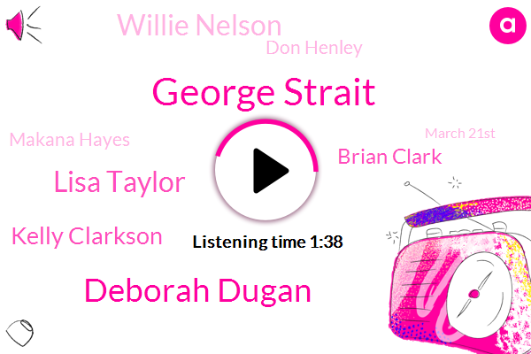George Strait,Deborah Dugan,Lisa Taylor,Kelly Clarkson,Brian Clark,Willie Nelson,Don Henley,Makana Hayes,March 21St,Matthew Mcconnell Hayes,Last Year,Texas,Post,Malone,Youtube,This Year,Grammy Awards,JIM,Abc News,One Scandal