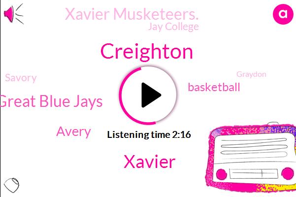 Creighton,Xavier,Great Blue Jays,Avery,Basketball,Xavier Musketeers.,Jay College,Savory,Graydon,Omaha,Nebraska,Crane,Ch I Center,David,JOE