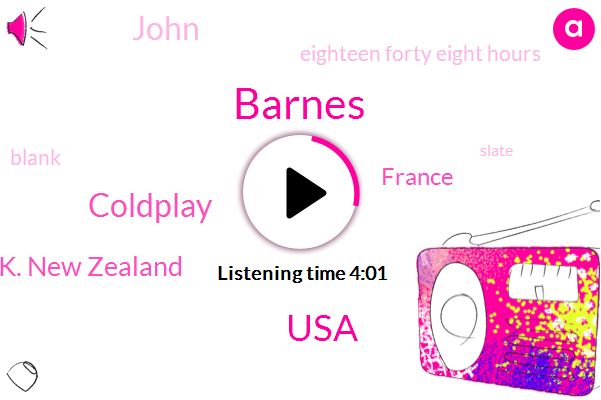 Barnes,USA,Coldplay,U. K. New Zealand,France,John,Eighteen Forty Eight Hours